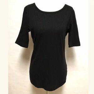 LuLaRoe GIGI Shirt Ribbed Stretch Solid Black Noir